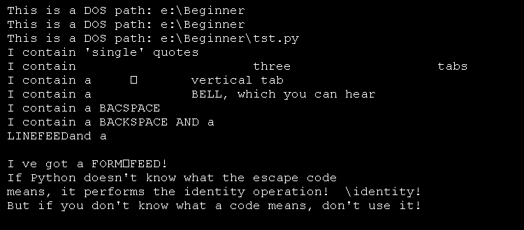 Escape Codes: \b, \t, \n, \a, \r