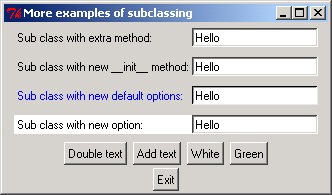 More examples of subclassing of Pmw EntryField