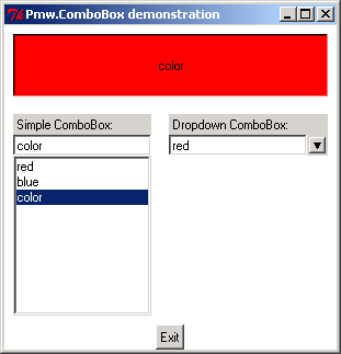 Pmw.ComboBox demonstration: Drop down form