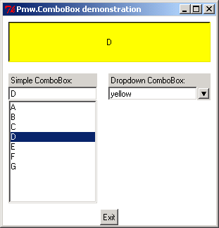 Pmw.ComboBox demonstration: simple form