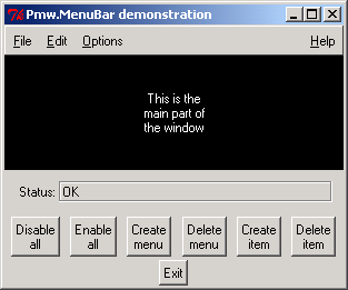 Pmw MenuBar: disable, enable, add menu, delete menu, add menu item and delete menu item