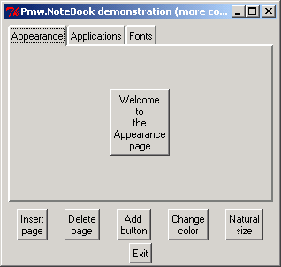Pmw.NoteBook: tabbed pane