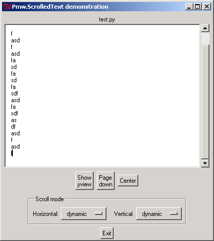 Pmw Option Menu: control scroll mode for Pmw ScrolledText
