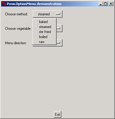 Pmw OptionMenu demonstration