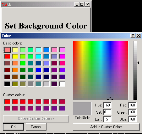 Set Color Common Dialog GUI Tk Python