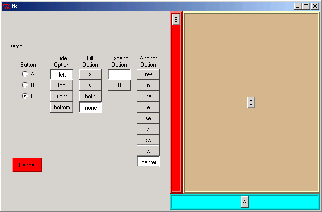 Several pack() options for controlling layouts within a frame: side, fill, expand, anchor