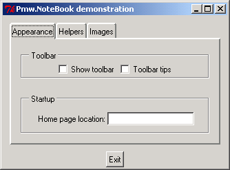 Tab control: Pmw.NoteBook demonstration