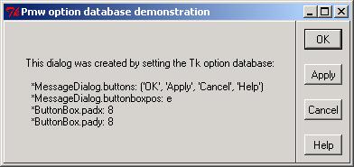 Using Tk option database to configure Pmw megawidgets