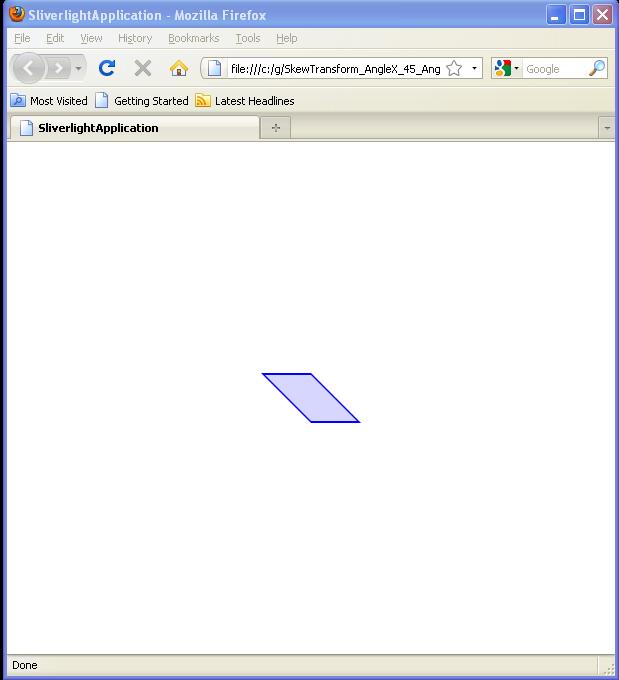 SkewTransform AngleX: 45 / AngleY: 0 / RenderTransformOrigin: (0.5,0.5)