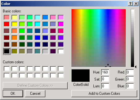 Color Dialog: Changing the background and text colors of a form