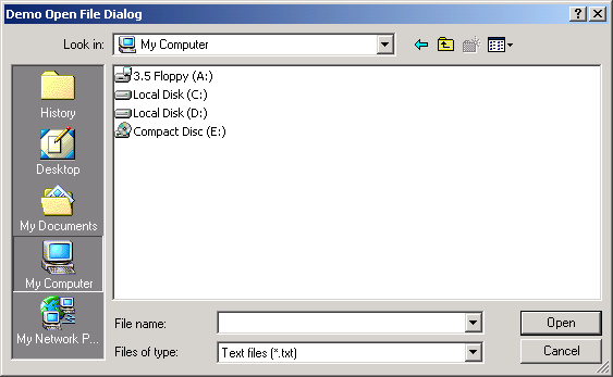 File Open dialog: file filter