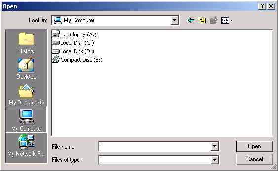 File open dialog