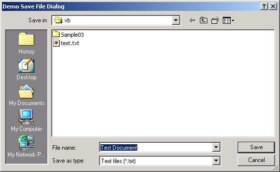 File save dialog: File filter, Default name, Overwrite Prompt and title
