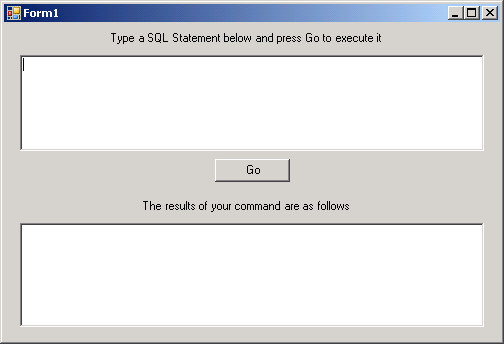 GUI based SQL command executer