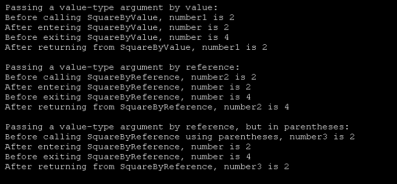 Squares three values ByVal and ByRef, displays results