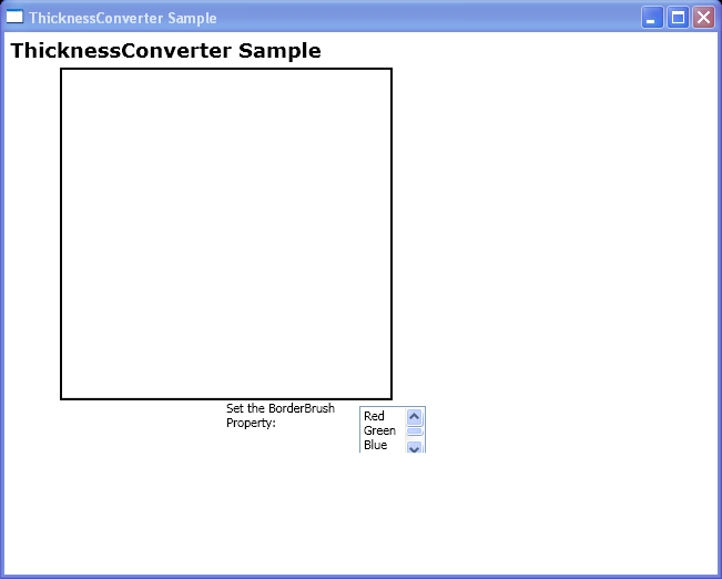 Convert contents of a ListBoxItem to an instance of Thickness by using the BrushConverter