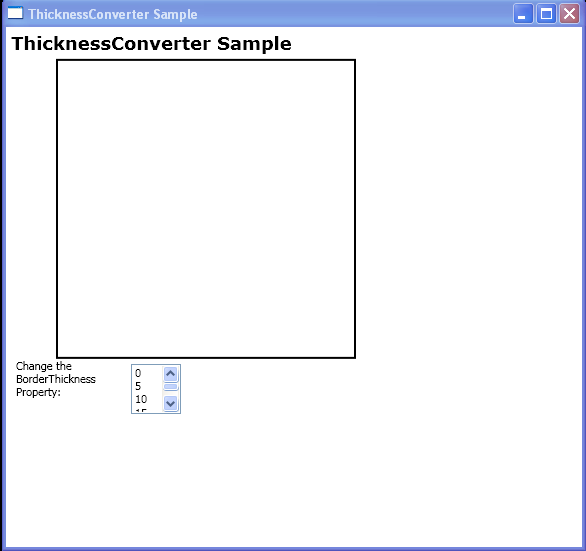 Convert contents of a ListBoxItem to an instance of Thickness by using the ThicknessConverter