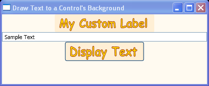 Draw text to the background of a control by accessing the control's DrawingContext.