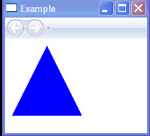 Draws a triangle with a blue interior