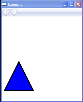 Draws a triangle with a blue interior and a black outline