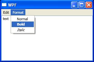 Menu with Application command: cut, copy, paste