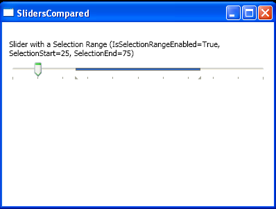 Slider with a Selection Range (IsSelectionRangeEnabled=True, SelectionStart=25, SelectionEnd=75)