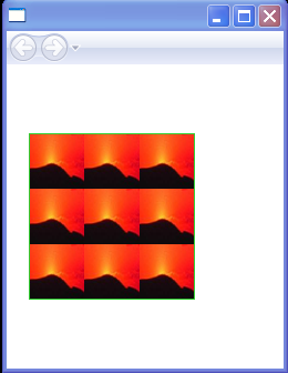 The ImageBrush's content is tiled in this example
