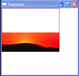 The ImageBrush's content is vertically aligned with the bottom of the output area
