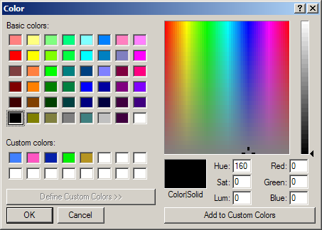 ColorDialog With Custom Color