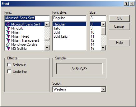 Show Font Dialog Help