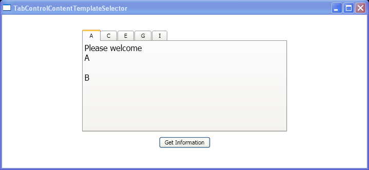 Binds a TabControl to a collection of Employee objects