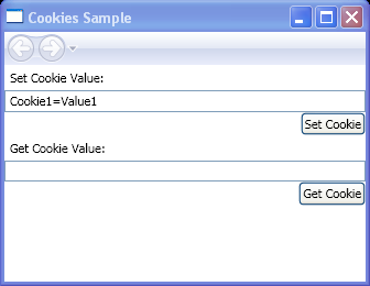 Create and retrieve cookies from a Windows Presentation Foundation (WPF) application using SetCookie and GetCookie.