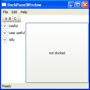 DockPanel with Menu, ToolBarTray, StatusBar, StackPanel