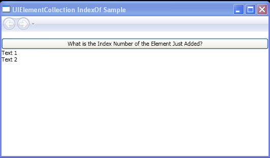 Find the index number of a newly added element within a panel, using the IndexOf method