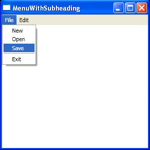 Menu With Sub heading