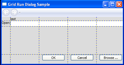 Use the Grid element to create a standard user interface (UI) dialog box.