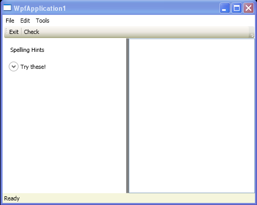 Window with Menu, ToolBar, StatusBar