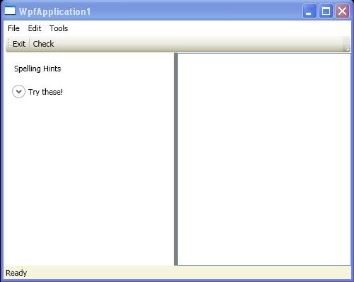 Window with Menu, ToolBar, StatusBar