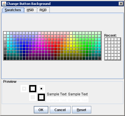 Creating and Showing a JColorChooser Pop-Up Window