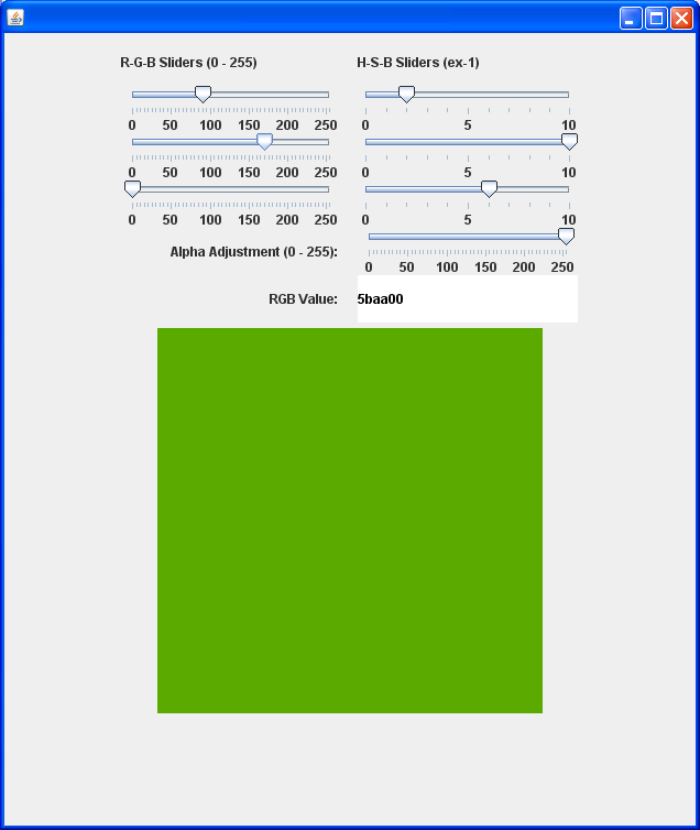 Use Slider to control the color R G B value
