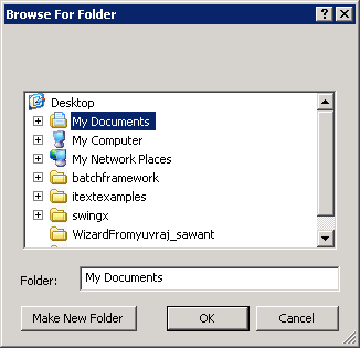 Creating the dialog and retrieving the selected directory
