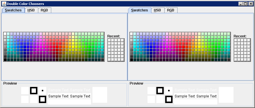 Dragging-and-Dropping Colors Across JColorChooser Components