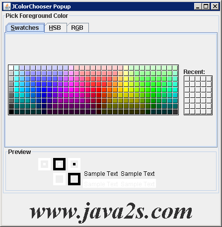 Linking JColorChooser with component's color