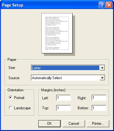 Printing setting