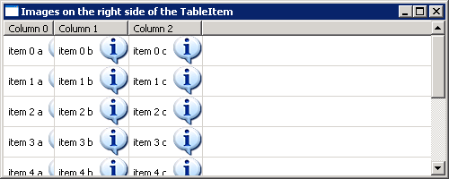 Table measure item listener