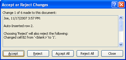 Click Accept to make the selected change to the worksheet.