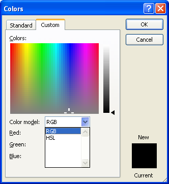 Click the Color Mode list arrow, and then click RGB or HSL.