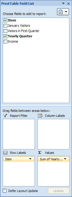 Report Filter to filter the entire report based on the selected item in the report filter.