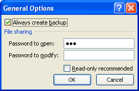 Select or clear the Always create backup check box.