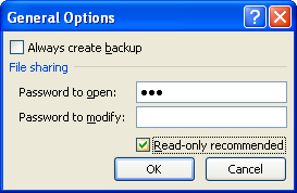 Select or clear the Read-only recommended check box.